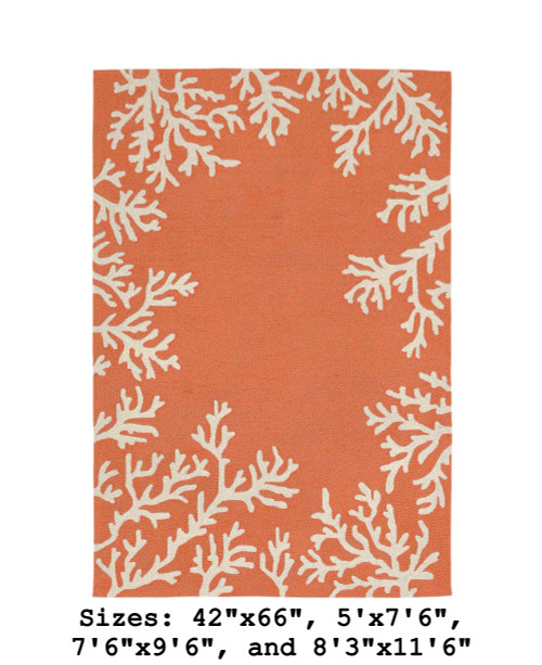 Capri Coral Border Indoor/Outdoor Rug -  Coral - Large Rectangle Available in 11 Sizes