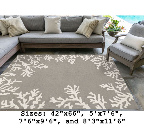 Capri Coral Border Indoor/Outdoor Rug -  Silver - Large Rectangle Lifestyle Available in 11 Sizes
