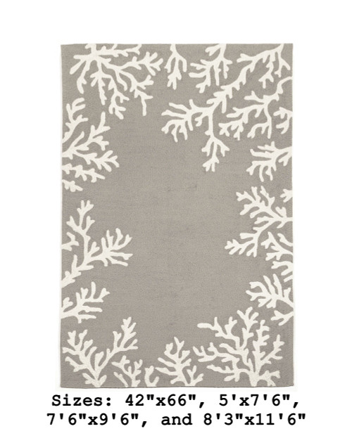Capri Coral Border Indoor/Outdoor Rug -  Silver - Large Rectangle Available in 11 Sizes