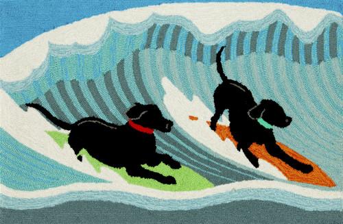Surfing Dogs Indoor/Outdoor Rug -  Small Rectangle 2 Indoor/Outdoor Rug - Skid Resistant Bottom