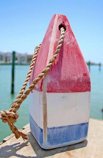"Nautical Wood Buoy 9""  Red/White/Blue"