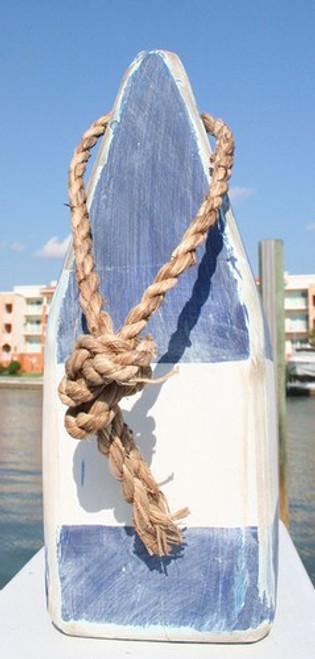 """Nautical Wood Buoy 9""""  Blue/White/Blue"""