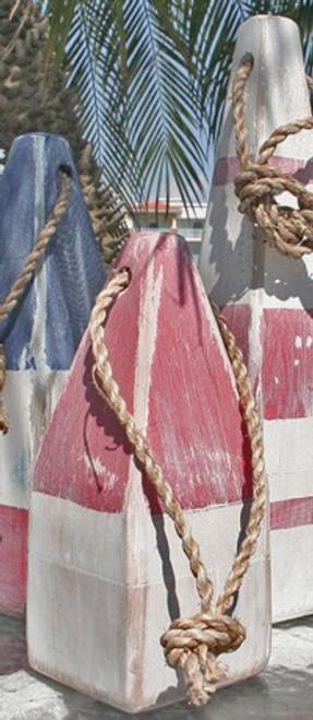 "Nautical Wood Buoy 9""  Red/White"