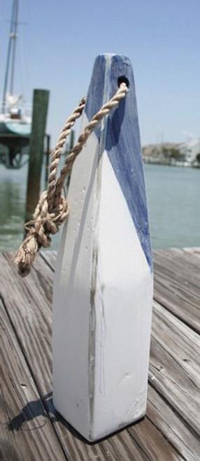 "Nautical Wood Buoy 15 "" Blue Diagonal/White"