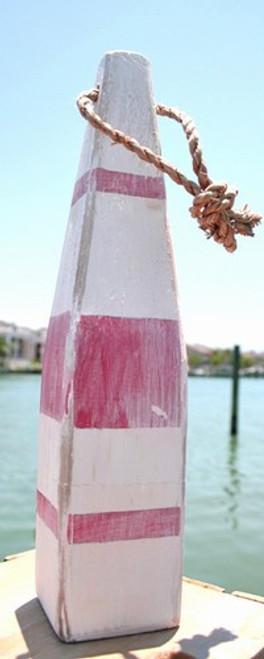 """Nautical Wood Buoy 15""""  White/Red thin stripe/White"""