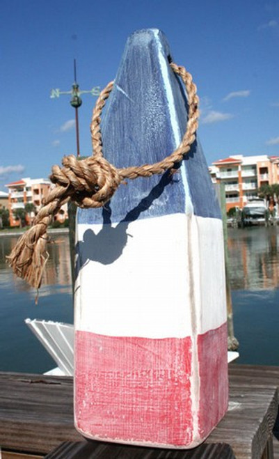 "Nautical Wood Buoy 12""  Red/White/Blue"