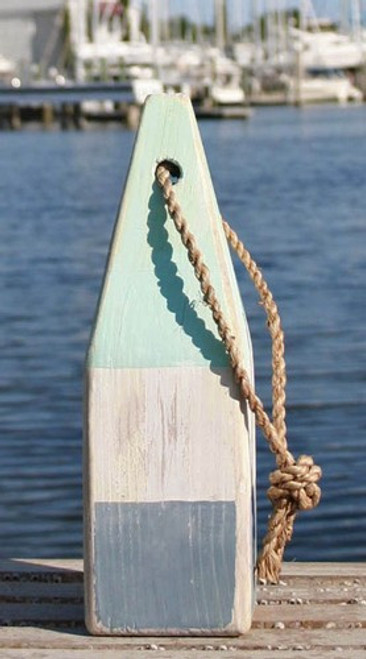 "Nautical Wood Buoy 12""  Aqua/White/Nantucket Blue"