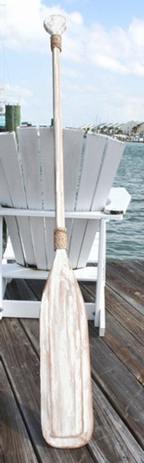 Hand Painted Wood Paddle With Rope White