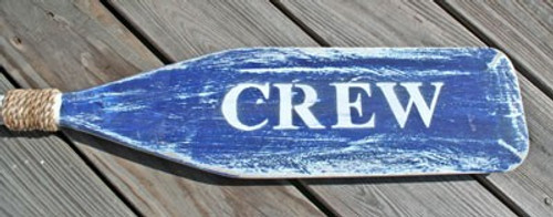 "Hand Painted Wood Paddle With Rope White/Blue ""Crew"""