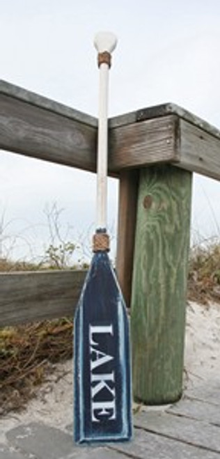 "Hand Painted Wood Paddle With Rope White/Navy ""Lake"" in White"
