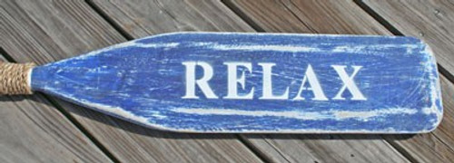 "Hand Painted Wood Paddle With Rope White/Blue ""Relax"""