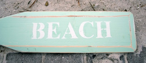 "Hand Painted Wood Paddle With Rope White/Aqua ""Beach"" in White"