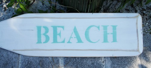 "Hand Painted Wood Paddle With Rope White/White ""Beach"" in Aqua"