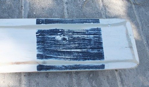 Hand Painted Wood Paddle With Rope White/White With Navy Stripe