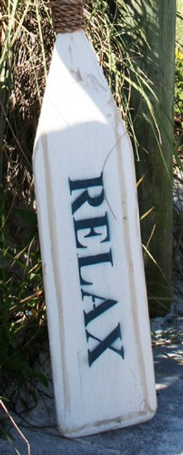 "Hand Painted Wood Paddle With Rope White/White ""Relax"" in Navy"