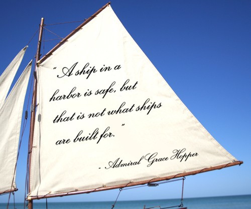 Sailboat With Quote: A Ship In A Harbor