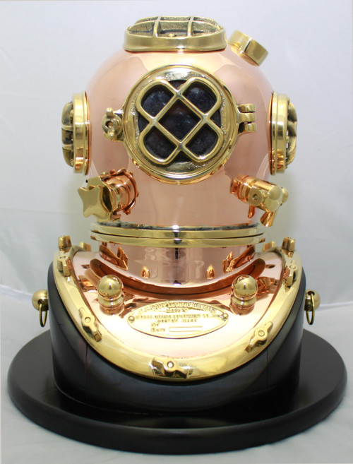 "(BP-704 10) 10"" Decorative Brass Mark V Diving Helmet with Wooden Base"