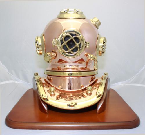 "(BP-704 12) 12"" Decorative Brass Mark V Diving Helmet with Wooden Base"