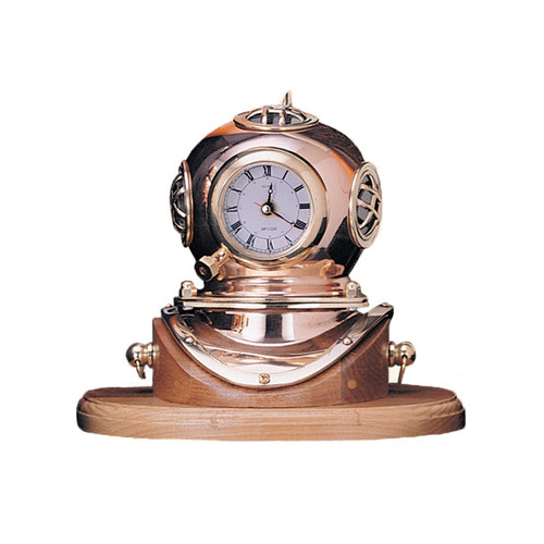 "(106) 7.5"" Lacquer Coated Brass Helmet Desktop Clock with Wooden Base"