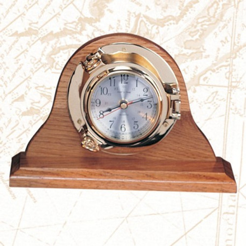 Deluxe Porthole Clock with Premium Wooden Base - 5.5""