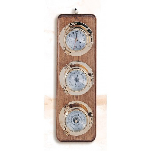 """Deluxe Porthole Clock, Barometer and Thermometer on Wooden Base - 5.5"""""""