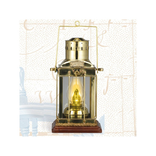 "(BL-836 TW)  16"" Touch Brass Cargo Lantern with Base"