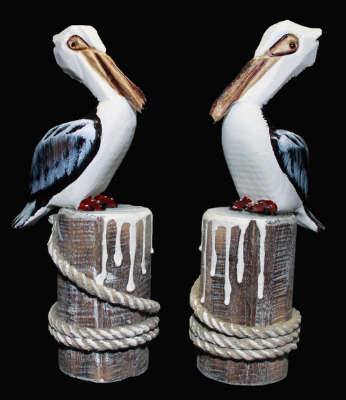 "Decorative Wooden Pelicans 9"" - Set of 2"
