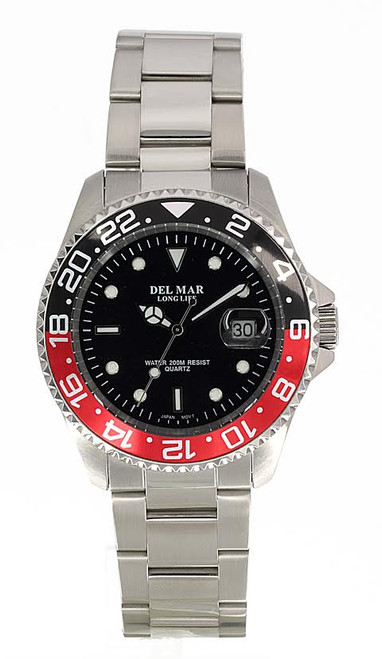Del Mar Men's 200M Stainless Steel Classic with Black and Red Bezel