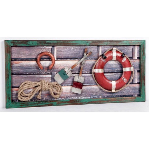 (CV-308) 3D Collage Art in Wooden Frame Featuring Life Rings, Paddles, and Rope