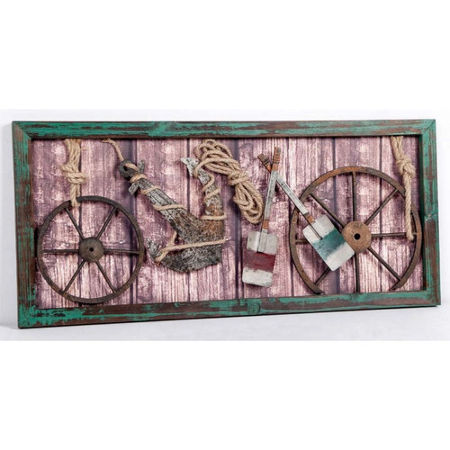 (CV-307) 3D Collage Art in Wooden Frame Featuring Ship Wheels, Paddles, Anchor, and Rope