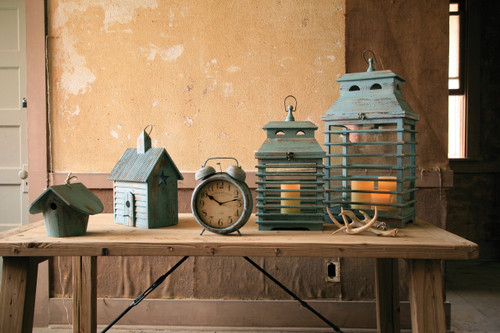 Vintage Blue Shutter Lanterns - Set of 2
