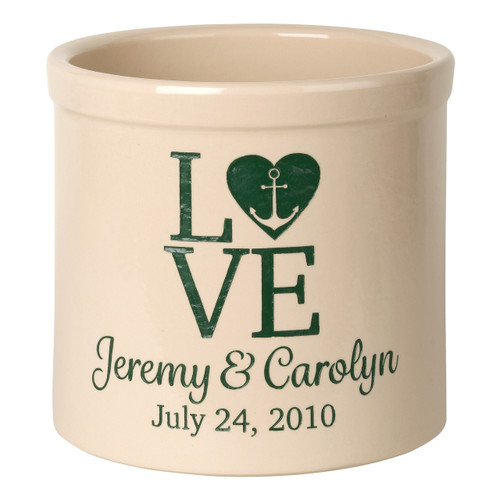 "Personalized Stoneware Crock with Anchor and Heart - ""Love"""