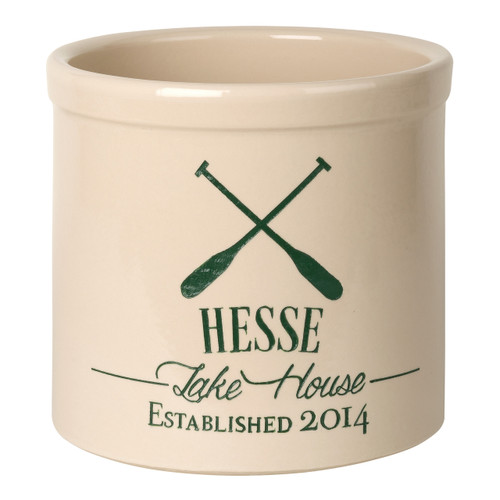 "Personalized Stoneware Crock with Oars - ""Lake House """