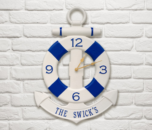 Personalized Life Preserver and Anchor Clock
