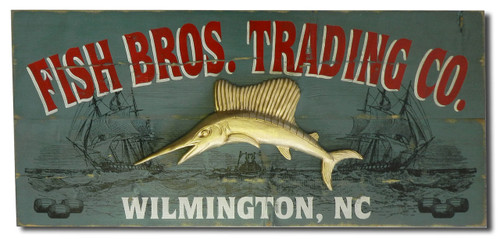 Personalized  Vintage Plank Sign with Sailfish Relief