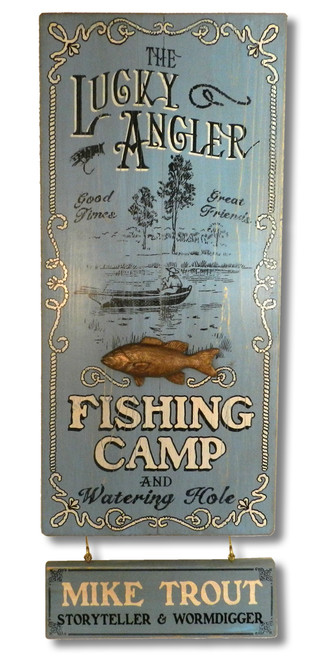 Lucky Angler Sign with Optional Personalized Nameplate