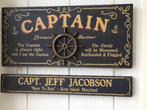 Captain Sign with Optional Personalized Nameplate