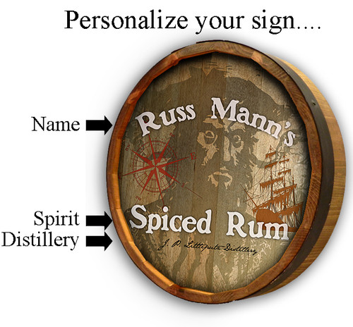 Personalized Pirate Quarter Barrel Sign - 19""