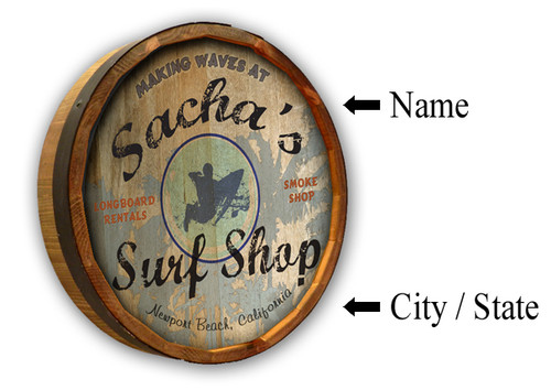 Personalized Surf Shop Quarter Barrel Sign - 19""