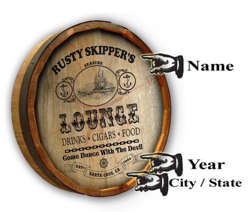Personalized Seaside Lounge Quarter Barrel Sign - 19""