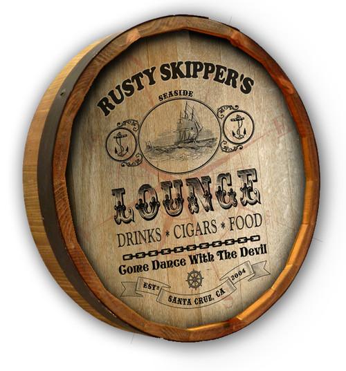 "Personalized Seaside Lounge Quarter Barrel Sign - 19"""