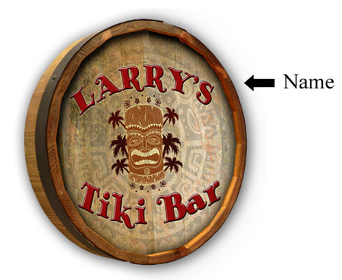 Personalized Tiki Bar Quarter Barrel Sign - 19""