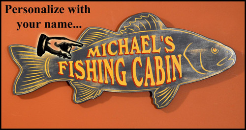 """Personalized Fishing Cabin Sign - 24"""""""