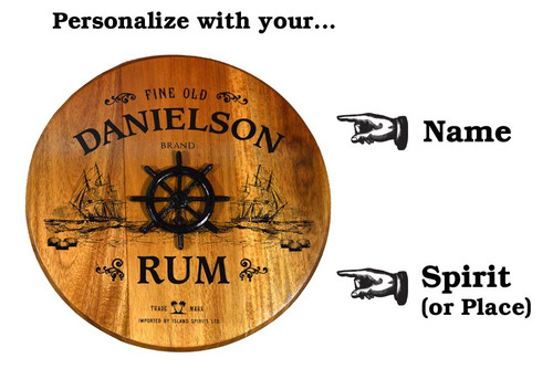 Personalized Ship's Wheel Barrel Head Sign - 21""
