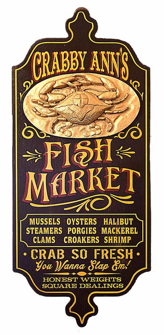 """Personalized Fish Market Sign with Relief - 28"""""""