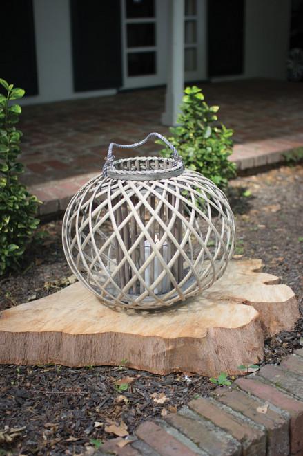 Low Round Grey Willow Lantern with Glass