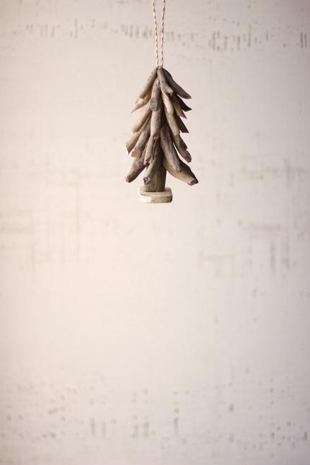 Driftwood Christmas Tree Ornaments - Set of 4