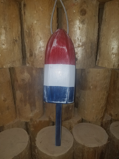 """Wooden Lobster Buoy - 21"""" - Red, White, and Blue"""