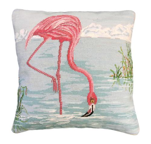 Swan in Lake Needlepoint Pillow