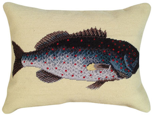 Rock Fish Needlepoint Pillow